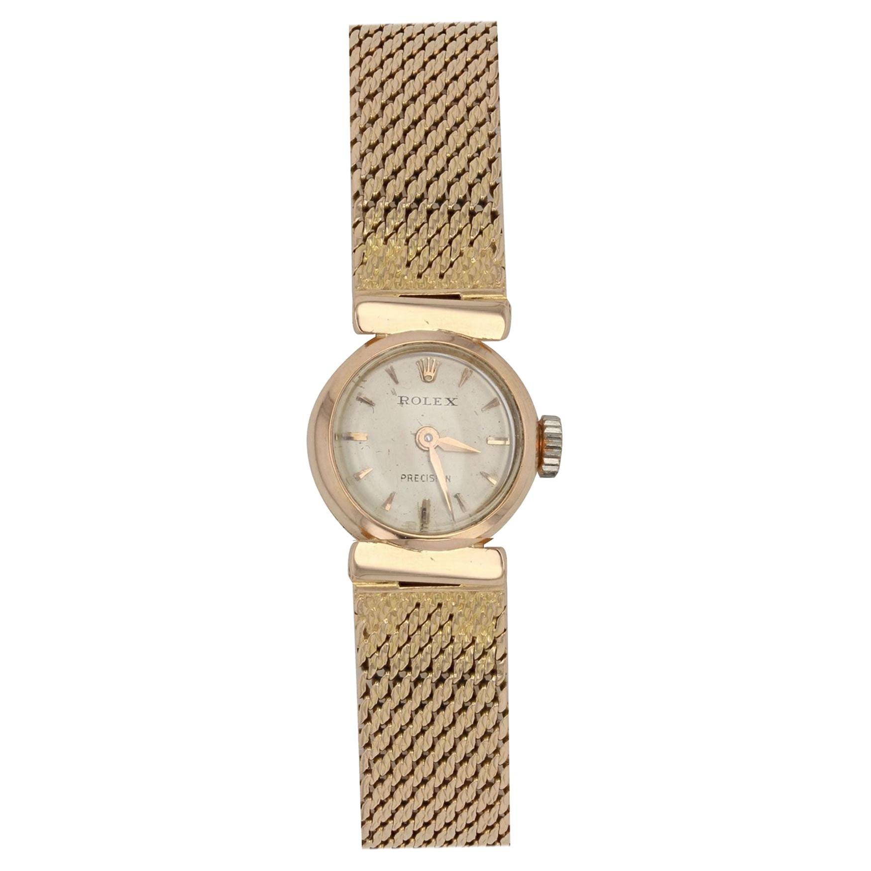 1950s Rolex 18 Karat Yellow Gold Ladies Wristwatch