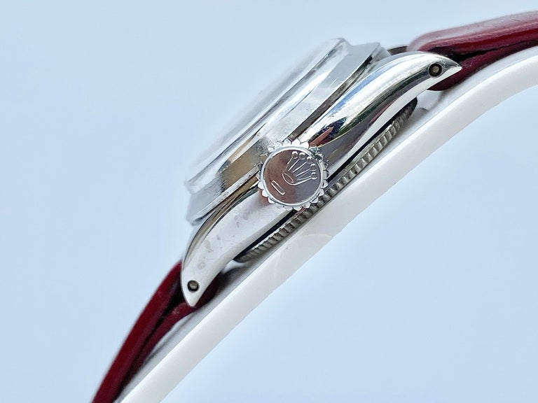 Women's 1950's Rolex Oyster Speedking Precision in Red Leather Strap For Sale
