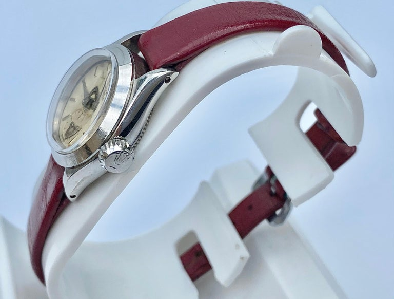 1950's Rolex Oyster Speedking Precision in Red Leather Strap For Sale 1