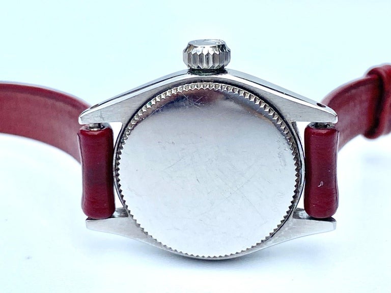 1950's Rolex Oyster Speedking Precision in Red Leather Strap For Sale 2