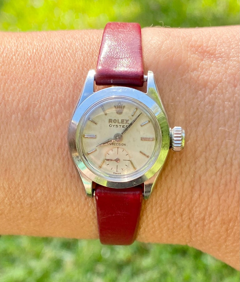 1950's Rolex Oyster Speedking Precision in Red Leather Strap For Sale 4