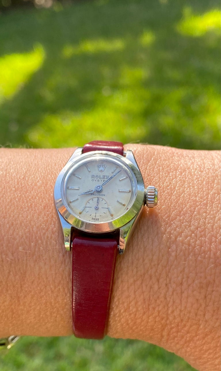 1950's Rolex Oyster Speedking Precision in Red Leather Strap For Sale 5
