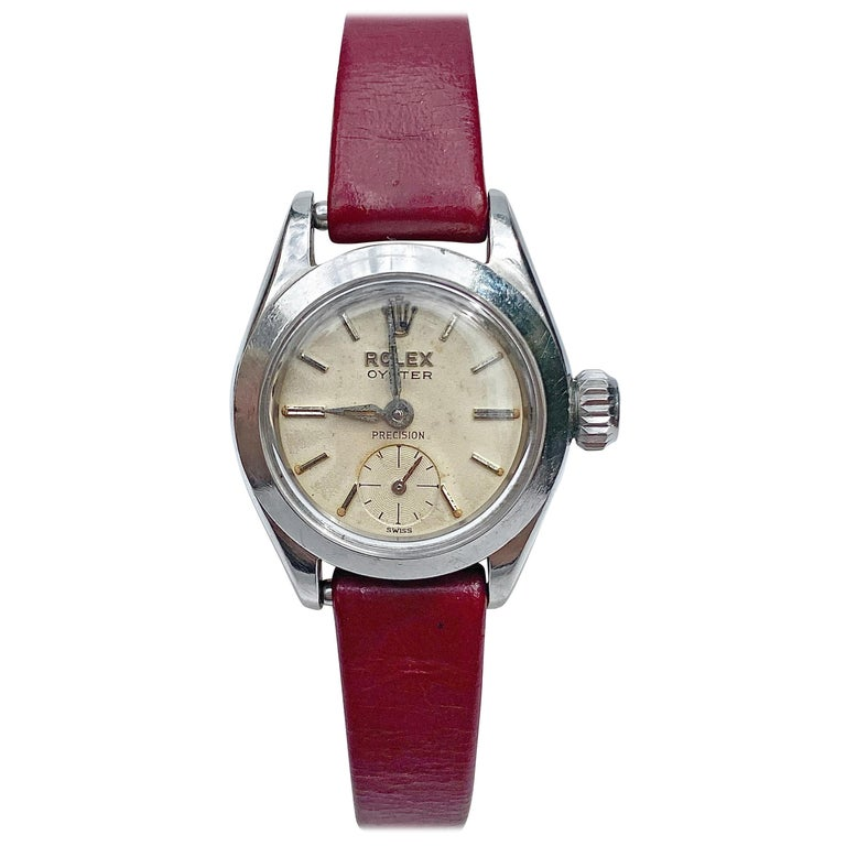 1950's Rolex Oyster Speedking Precision in Red Leather Strap For Sale