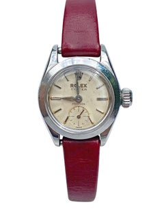1950's Rolex Oyster Speedking Precision in Red Leather Strap