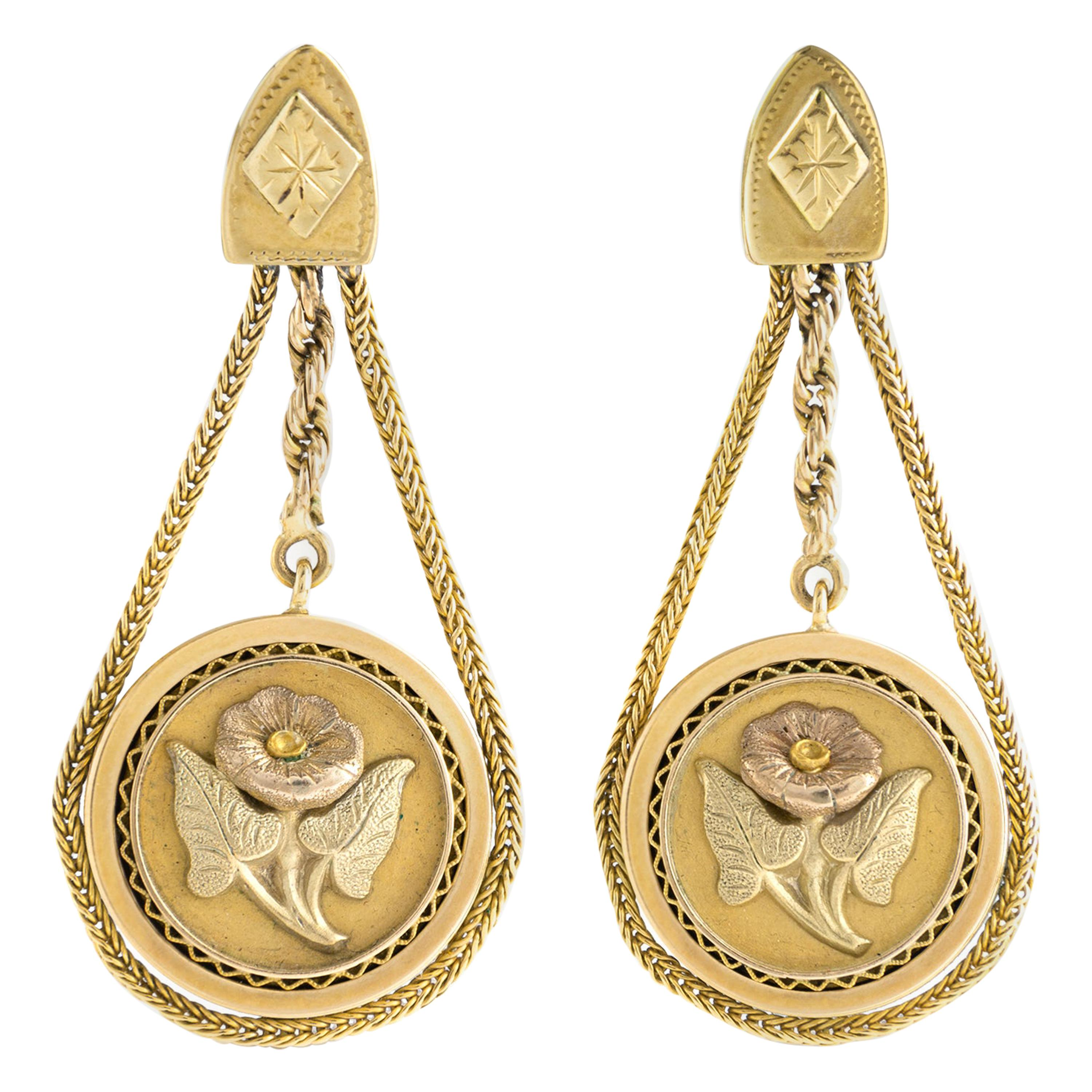 1950s Romantic Antique Revival Earrings Colored Gold