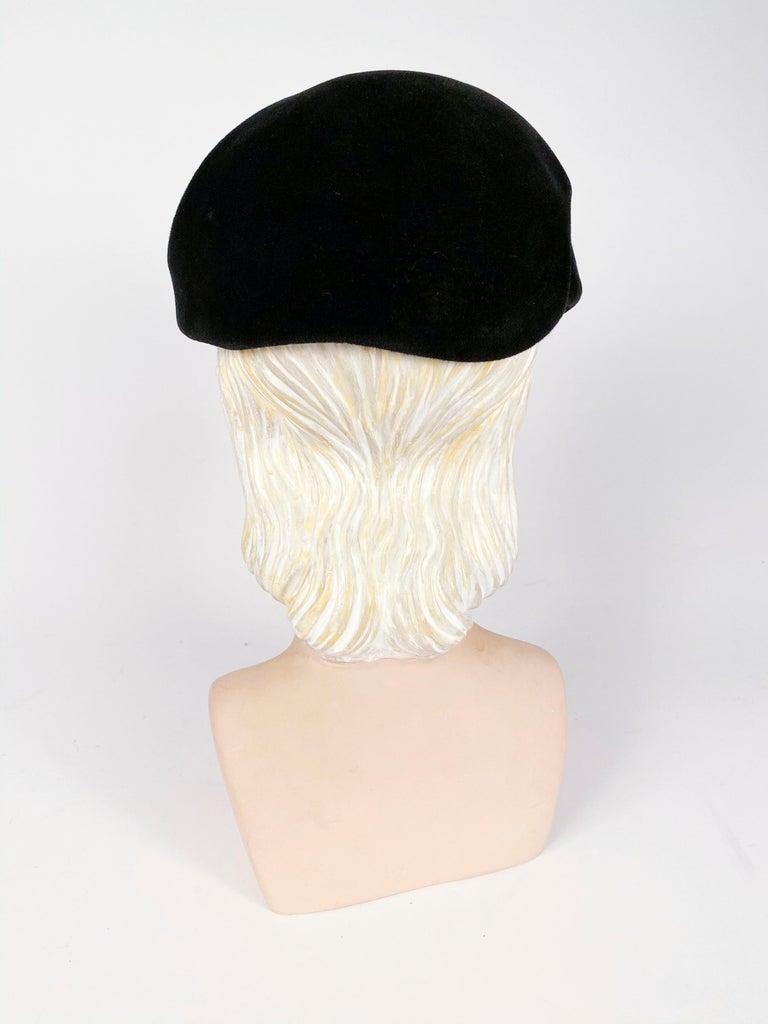 1950s Roos Bros. Black Velvet Hat For Sale 1