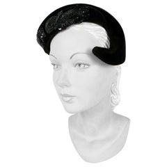 1950s Roos Bros. Black Velvet Hat