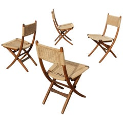 1950s Rope Upholstered Scissor Dining Chairs in the Style of Hans Wegner