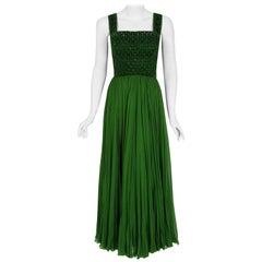 1950's Rosali Macrini Olive Green Beaded Rhinestone Silk Chiffon Evening Gown