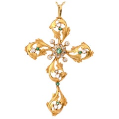 1950s Rose Cut Diamond Emerald 18 Karat Cross Pendant Brooch