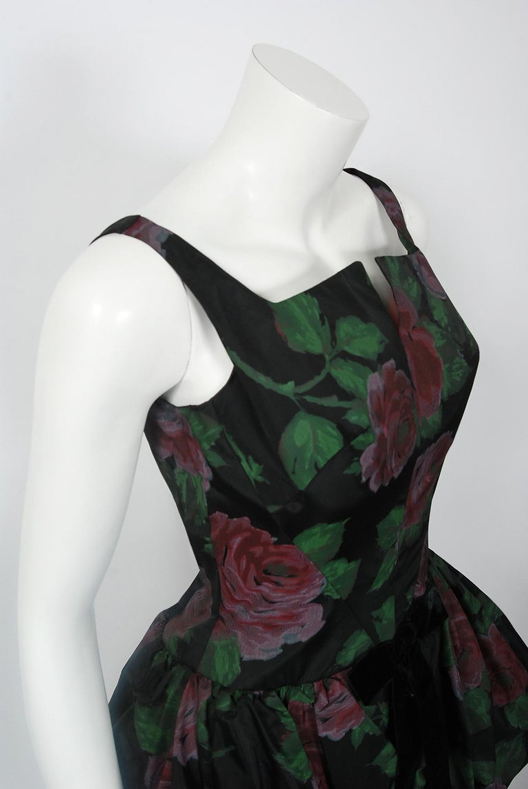 Black 1950's Rose Garden Floral Print Taffeta Sculpted Bubble-Peplum Cocktail Dress