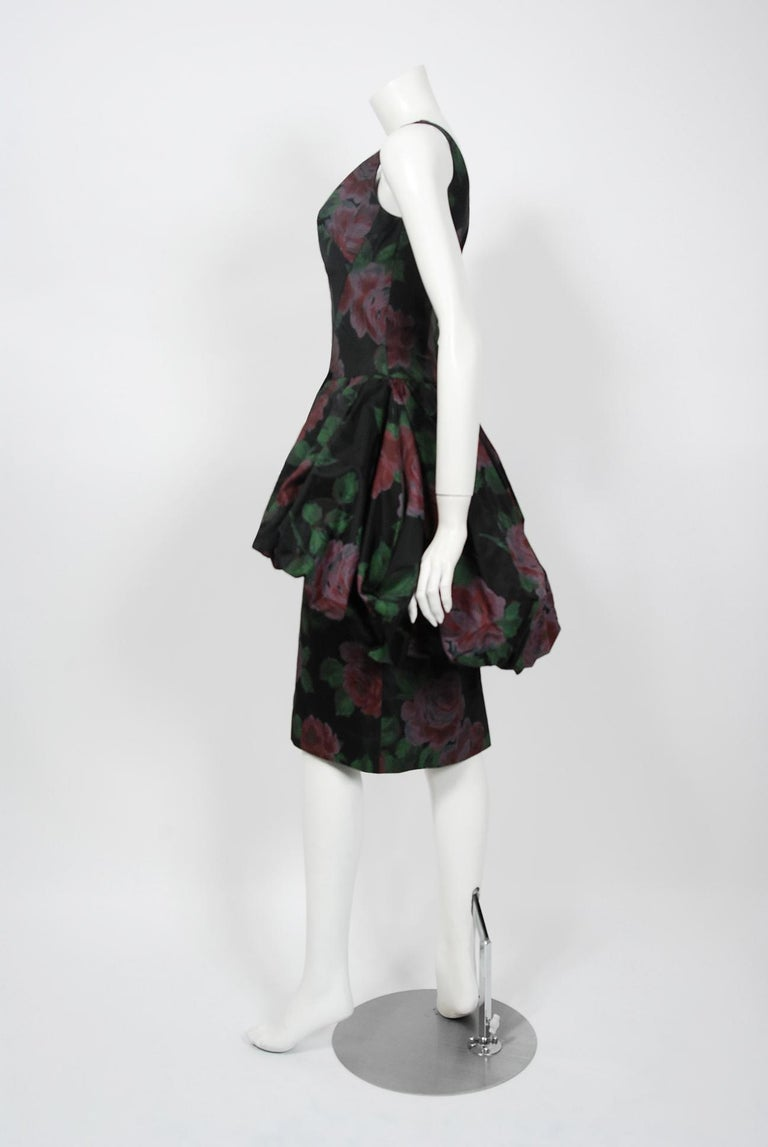 1950's Rose Garden Floral Print Taffeta Sculpted Bubble-Peplum Cocktail Dress 1