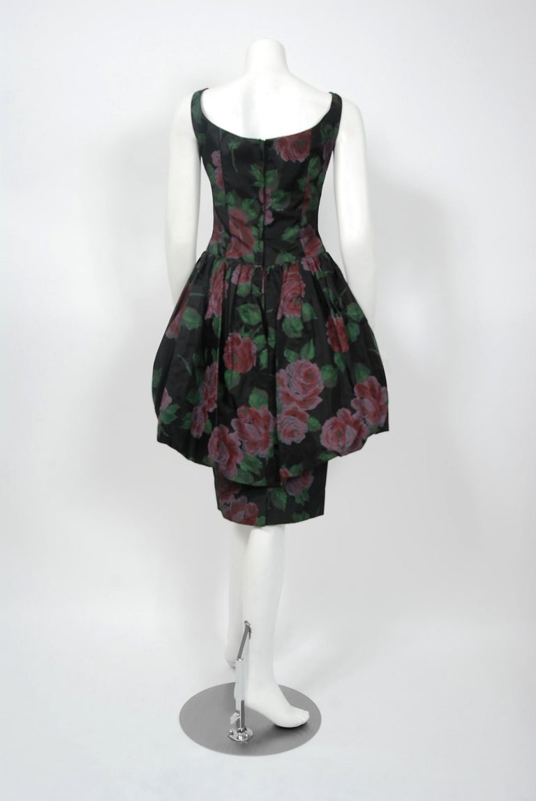 1950's Rose Garden Floral Print Taffeta Sculpted Bubble-Peplum Cocktail Dress 2