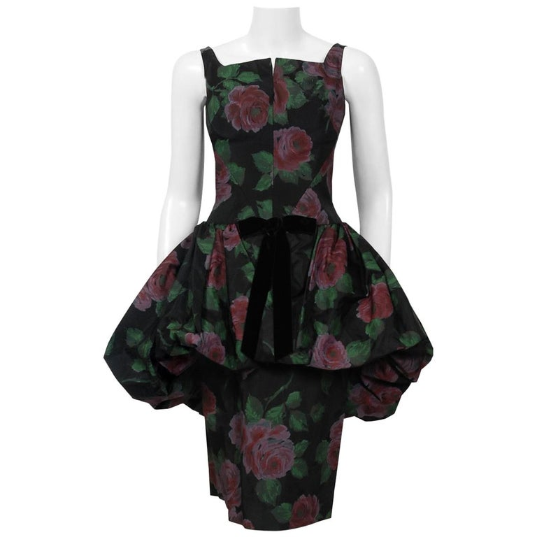 1950's Rose Garden Floral Print Taffeta Sculpted Bubble-Peplum Cocktail Dress