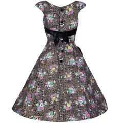 1950s Rose Print Cotton Dress With Black Velvet Bow