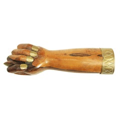 1950s Rosewood and Brass Figa Fist Hand Sculpture