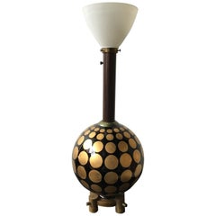 1950s Round Glass Lamp with Gold Painted Circles
