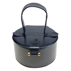 1950s Round Midnight Navy Leather Box Bag