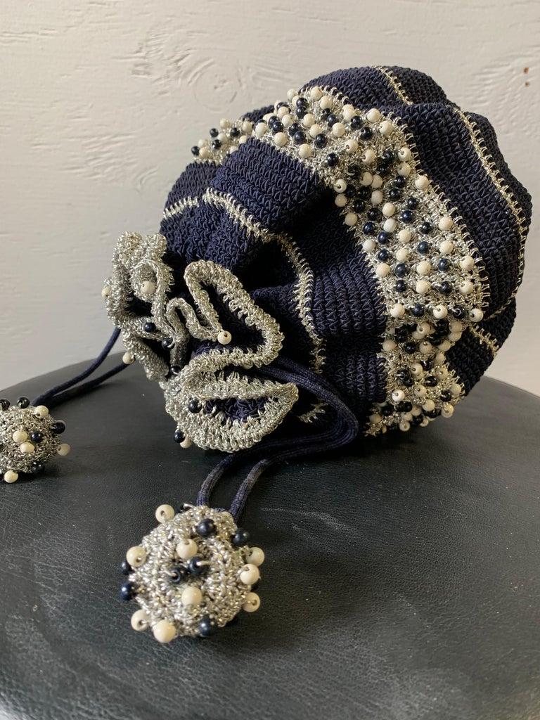1950s Round Navy & Silver Metallic Crochet Summer Handbag W/ Wooden Beading For Sale 6