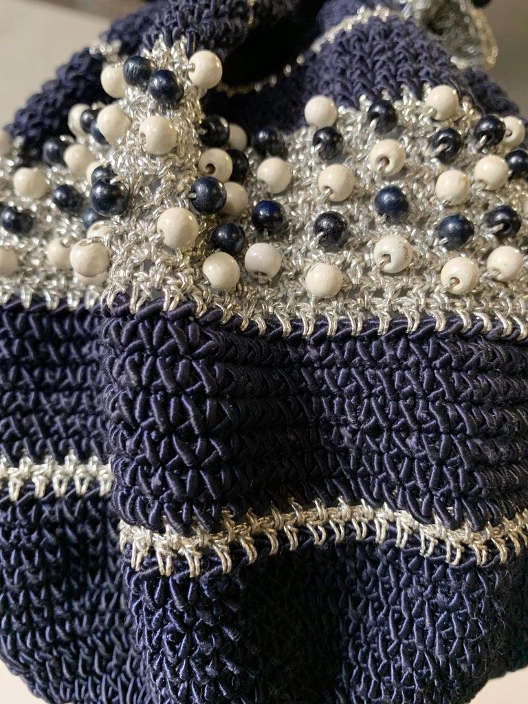 Women's 1950s Round Navy & Silver Metallic Crochet Summer Handbag W/ Wooden Beading For Sale
