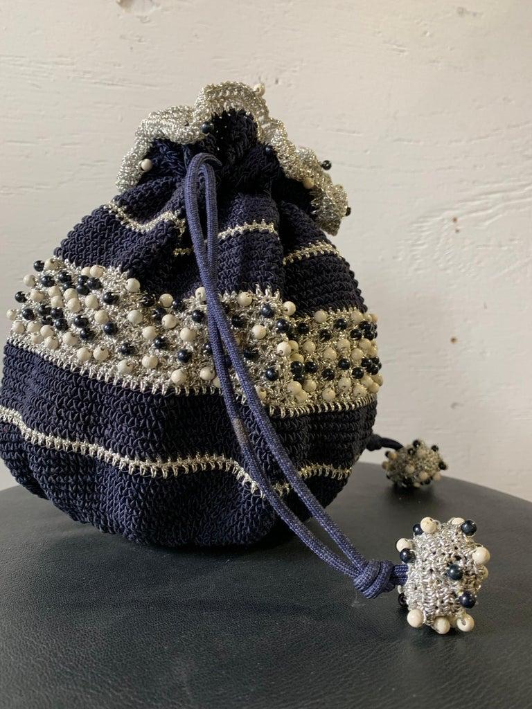 1950s Round Navy & Silver Metallic Crochet Summer Handbag W/ Wooden Beading For Sale 1