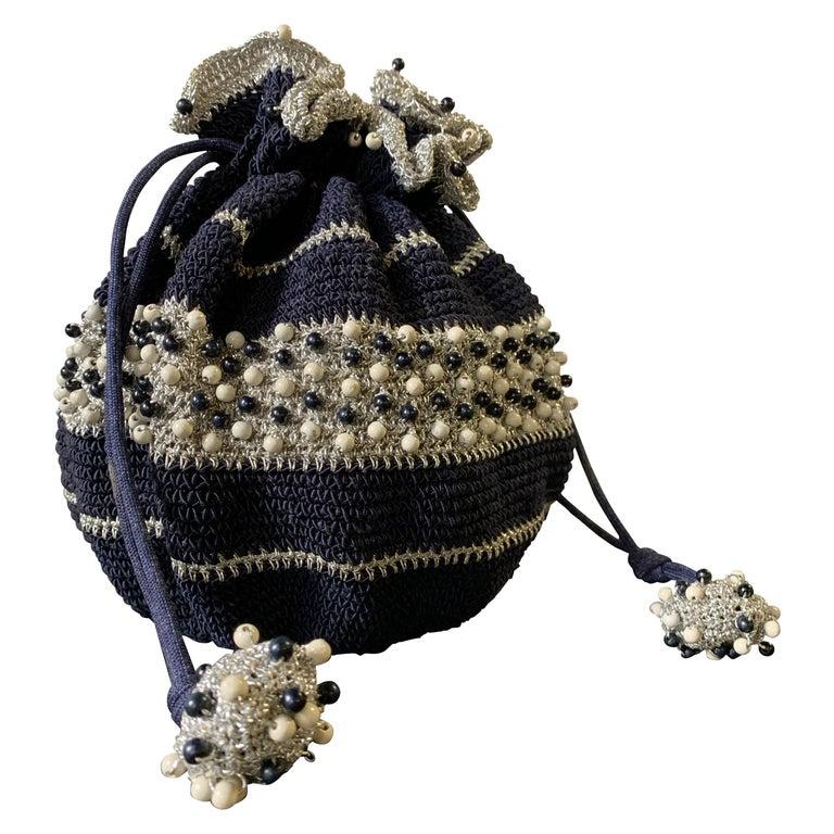 1950s Round Navy & Silver Metallic Crochet Summer Handbag W/ Wooden Beading For Sale