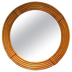 1950s Round Rattan / Bamboo Mirror Midcentury Five Stands
