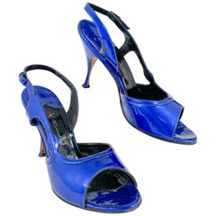 1950s Royal Blue Patent Leather Stiletto Heels