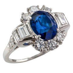 1950s Royal Blue Sapphire Diamond Platinum Ring