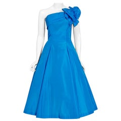 1950's Royal Blue Taffeta One-Shoulder Asymmetric Bow Circle Skirt Party Dress
