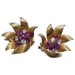 1950s Rubies Diamonds 14 Karat Yellow Gold Preformed Parts Co Flower Earrings