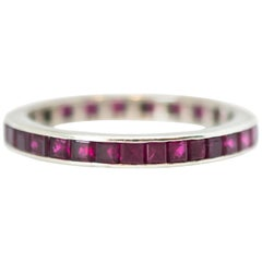 1950s Ruby and 14 Karat White Gold Eternity Band Ring