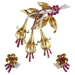 1950s Ruby and Diamond Floral Earring and Pin Set in 18 Carat Yellow Gold
