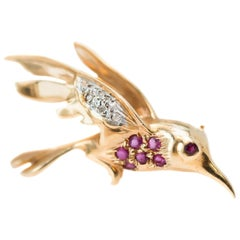 1950s Ruby, Diamond and 14 Karat Yellow Gold Bird Pin