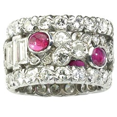 Ruby Diamond and Platinum Eternity Ring, Circa 1950