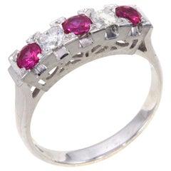 1950s Ruby Diamond Platinum Ring