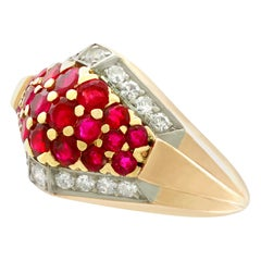 1950s Ruby Diamond Yellow Gold Cocktail Ring