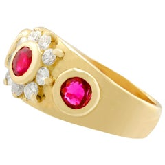 1950s Ruby Diamond Yellow Gold Ring