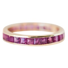 1950s Ruby Eternity Band in 14 Karat Yellow Gold