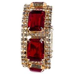 1950s Ruby Red Rhinestone Bracelet