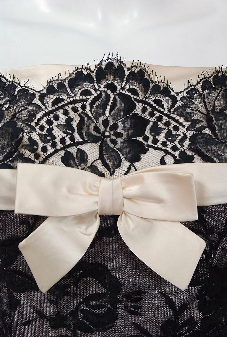 Gray 1950's Rudolf Couture Black Lace & Pale Pink Satin Shelf-Bust Bow Full Dress   For Sale
