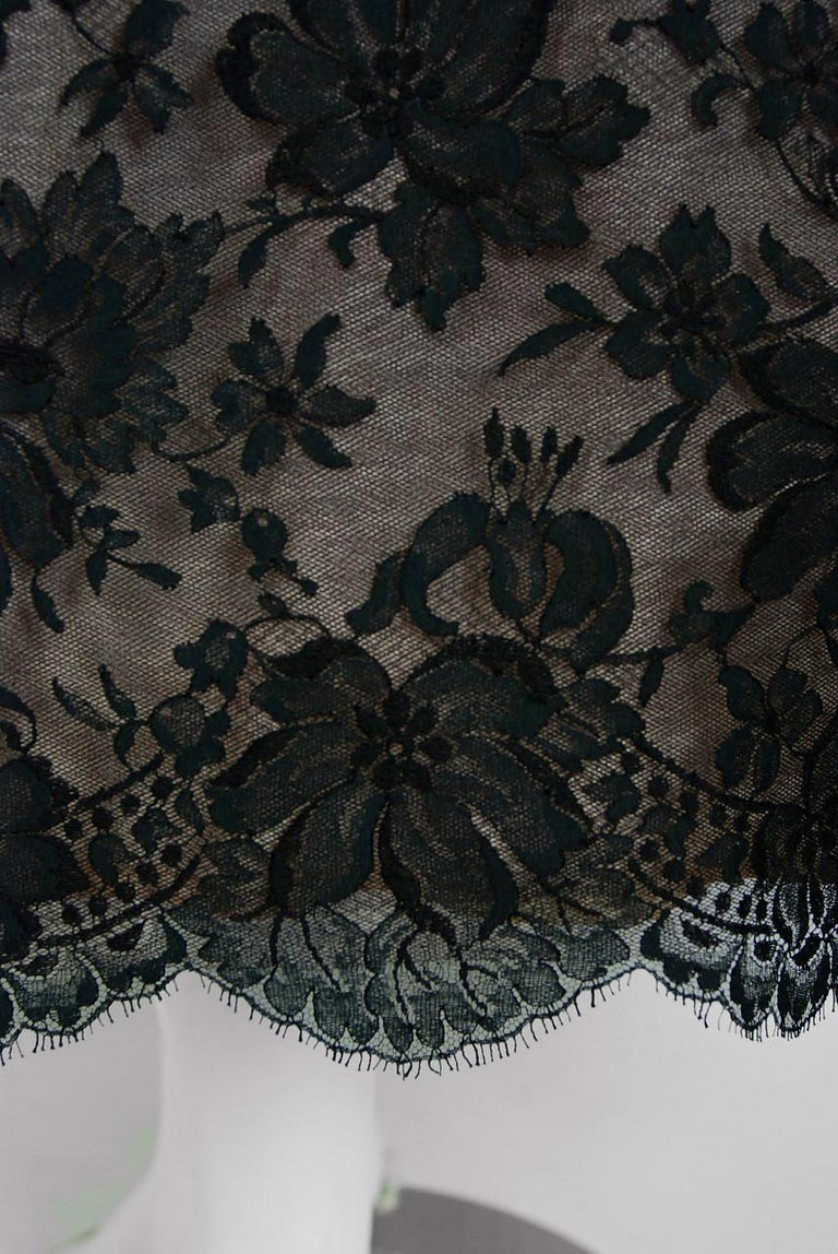 Women's 1950's Rudolf Couture Black Lace & Pale Pink Satin Shelf-Bust Bow Full Dress   For Sale