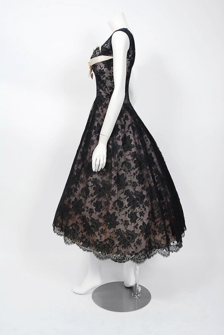 1950's Rudolf Couture Black Lace & Pale Pink Satin Shelf-Bust Bow Full Dress   In Good Condition For Sale In Beverly Hills, CA