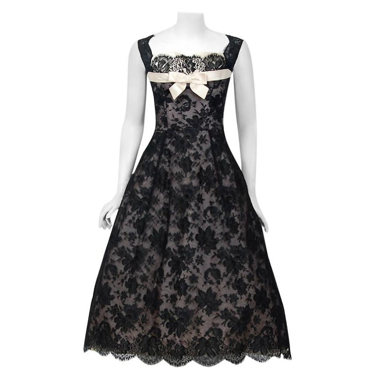 1950's Rudolf Couture Black Lace & Pale Pink Satin Shelf-Bust Bow Full Dress   For Sale