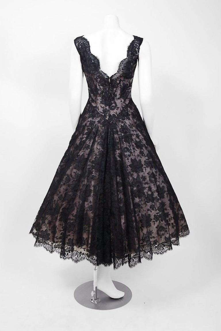 1950's Rudolf Couture Black Lace & Pale Pink Satin Shelf-Bust Bow Full Dress   For Sale 1