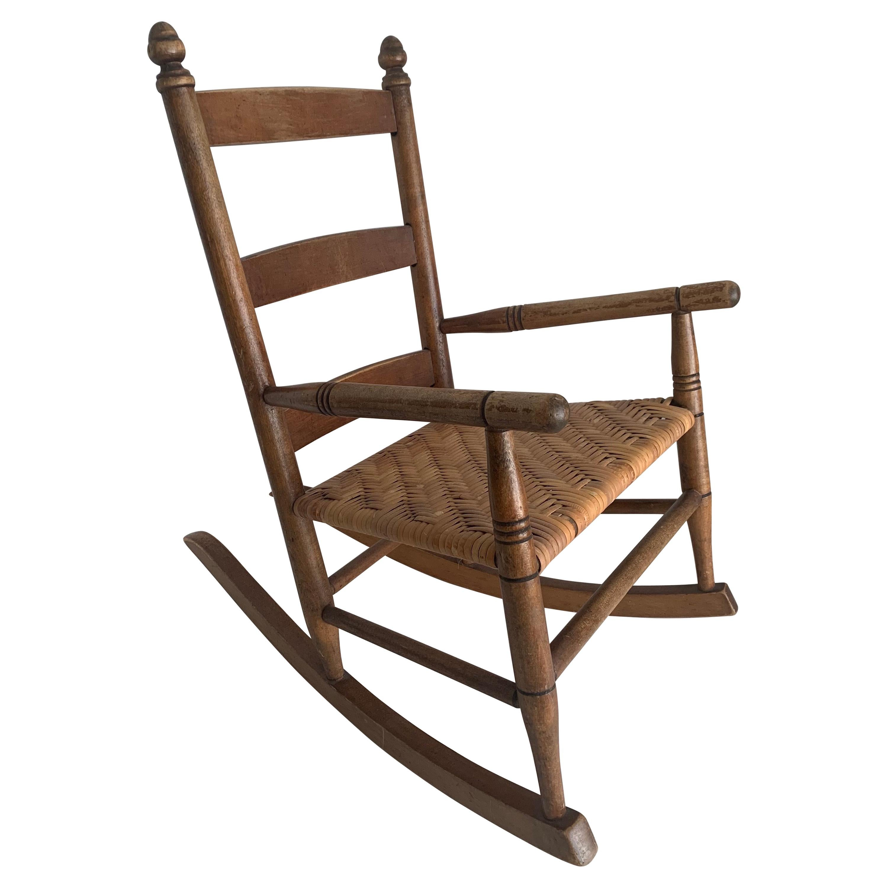1950s Rustic Style Wooden Children's Rocking Chair