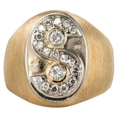 1950s S Shape Diamond Retro Signet Ring
