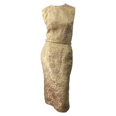 1950s Sa'Bett of California Demi Couture Gold Silk Brocade Vintage 50s Dress