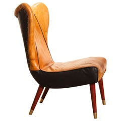 1950s Saddle Leather Danish Wingback Chair