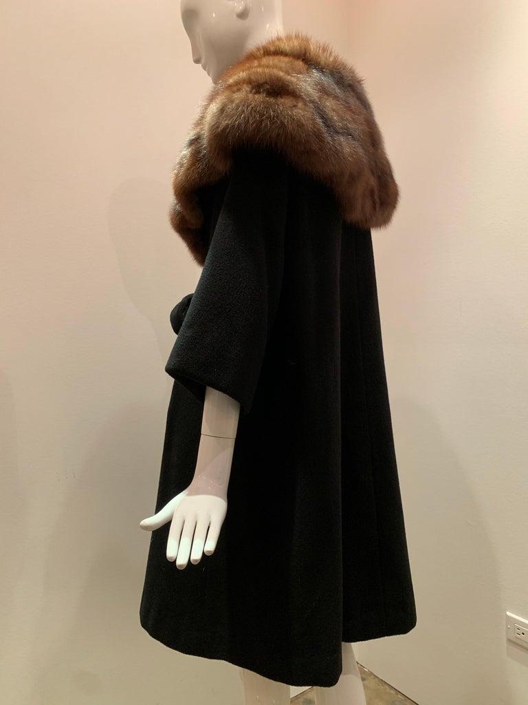 1950s Saks Fifth Avenue Black Cashmere Half-Belted Coat W/ Huge Sable Collar For Sale 6